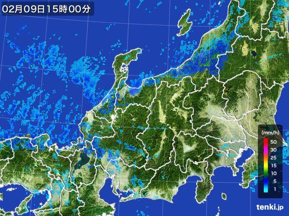 北陸地方の雨雲レーダー(2015年02月09日)