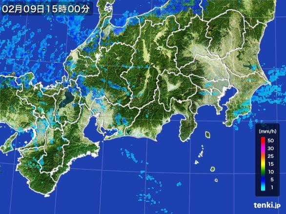 東海地方の雨雲レーダー(2015年02月09日)