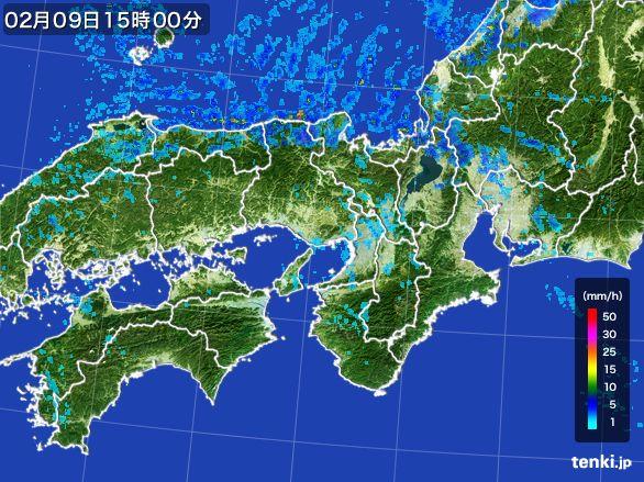 近畿地方の雨雲レーダー(2015年02月09日)