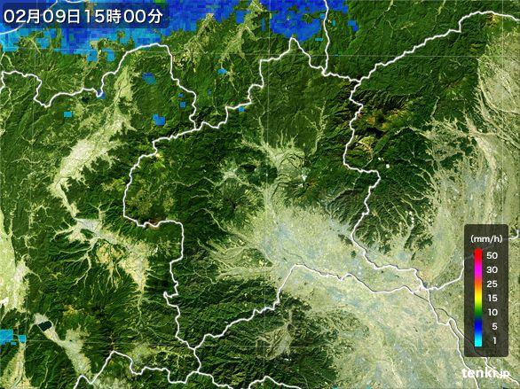 群馬県の雨雲レーダー(2015年02月09日)