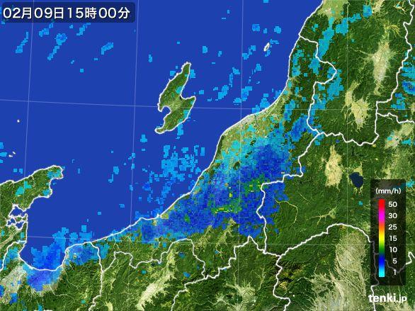 新潟県の雨雲レーダー(2015年02月09日)