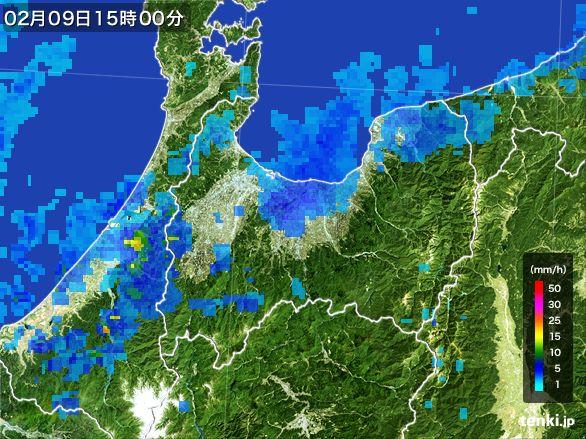 富山県の雨雲レーダー(2015年02月09日)
