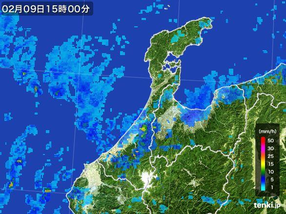 石川県の雨雲レーダー(2015年02月09日)