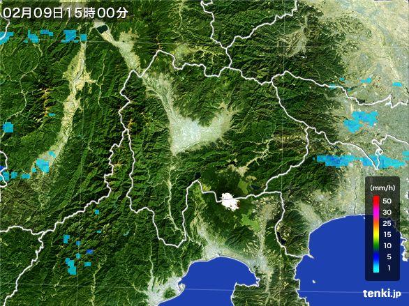山梨県の雨雲レーダー(2015年02月09日)