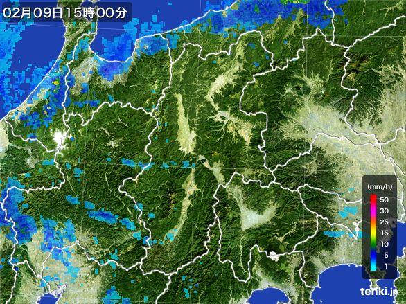 長野県の雨雲レーダー(2015年02月09日)