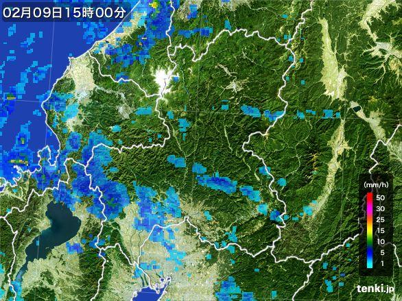 岐阜県の雨雲レーダー(2015年02月09日)