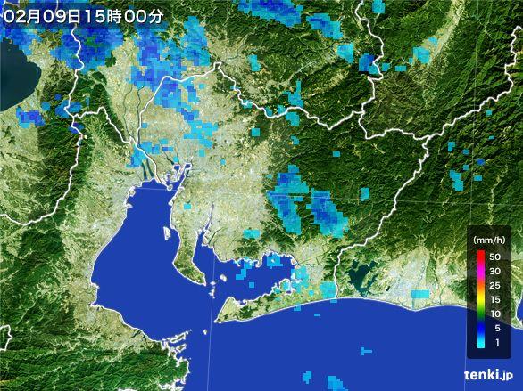 愛知県の雨雲レーダー(2015年02月09日)