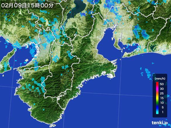 三重県の雨雲レーダー(2015年02月09日)