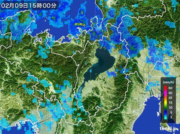 滋賀県の雨雲レーダー(2015年02月09日)