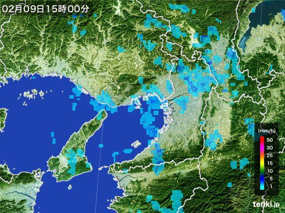 大阪府の雨雲レーダー(2015年02月09日)