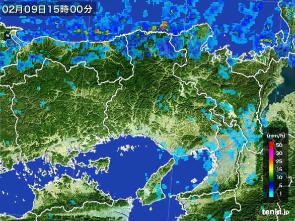 兵庫県の雨雲レーダー(2015年02月09日)