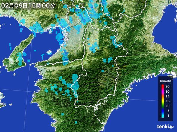 奈良県の雨雲レーダー(2015年02月09日)