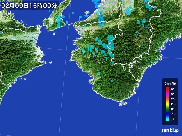 和歌山県の雨雲レーダー(2015年02月09日)