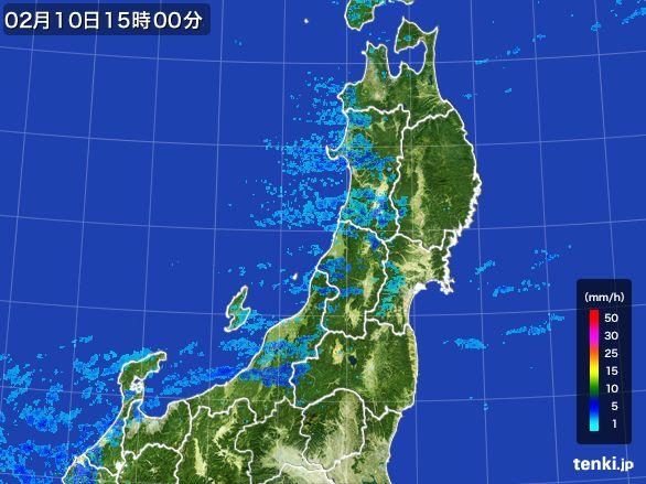 東北地方の雨雲レーダー(2015年02月10日)