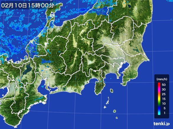 関東・甲信地方の雨雲レーダー(2015年02月10日)