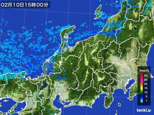 北陸地方の雨雲レーダー(2015年02月10日)
