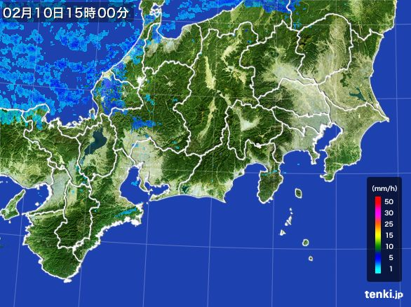 東海地方の雨雲レーダー(2015年02月10日)