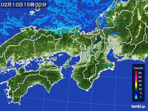 近畿地方の雨雲レーダー(2015年02月10日)