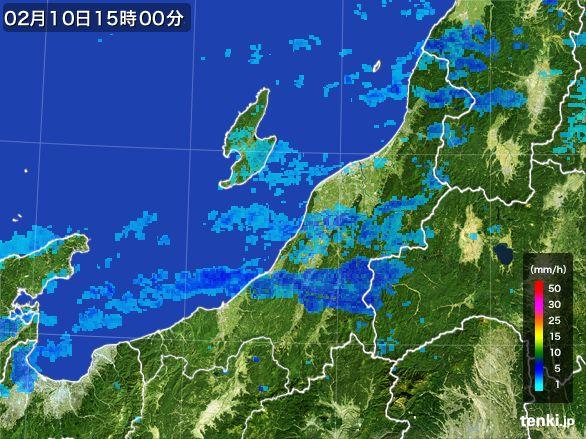 新潟県の雨雲レーダー(2015年02月10日)