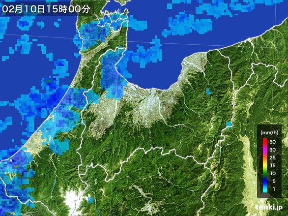 富山県の雨雲レーダー(2015年02月10日)