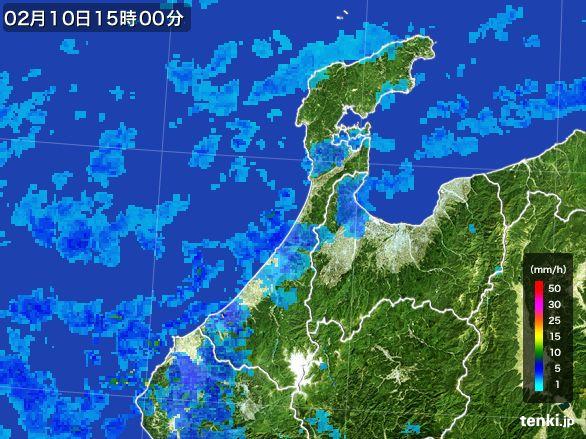 石川県の雨雲レーダー(2015年02月10日)