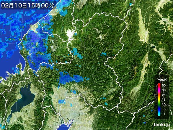 岐阜県の雨雲レーダー(2015年02月10日)