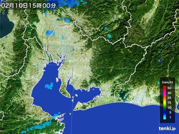 愛知県の雨雲レーダー(2015年02月10日)