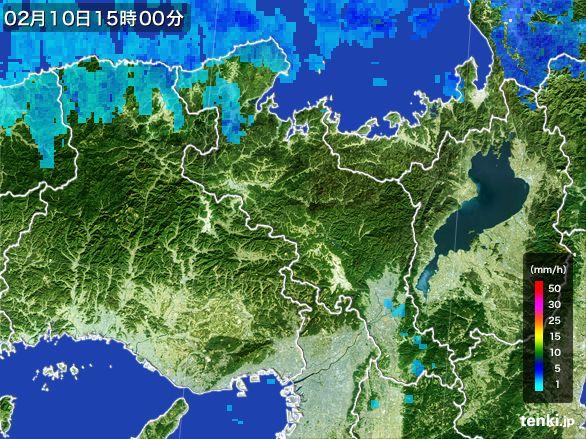 京都府の雨雲レーダー(2015年02月10日)