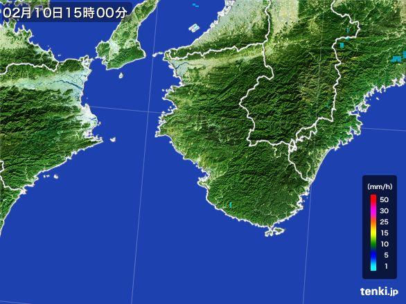 和歌山県の雨雲レーダー(2015年02月10日)