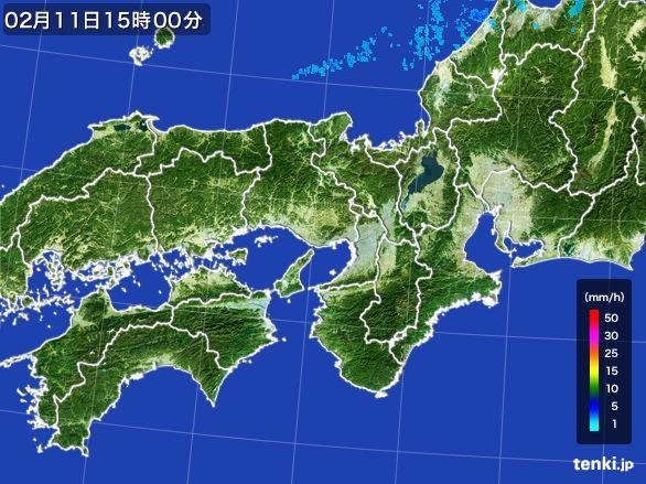 近畿地方の雨雲レーダー(2015年02月11日)