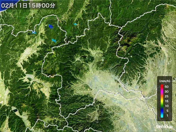 群馬県の雨雲レーダー(2015年02月11日)