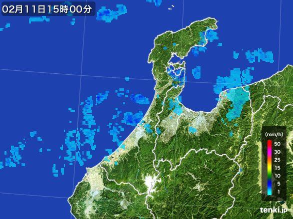 石川県の雨雲レーダー(2015年02月11日)