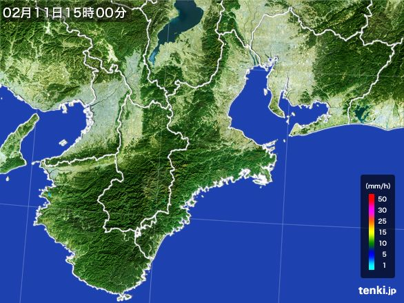 三重県の雨雲レーダー(2015年02月11日)