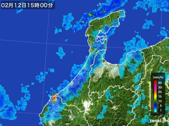 石川県の雨雲レーダー(2015年02月12日)