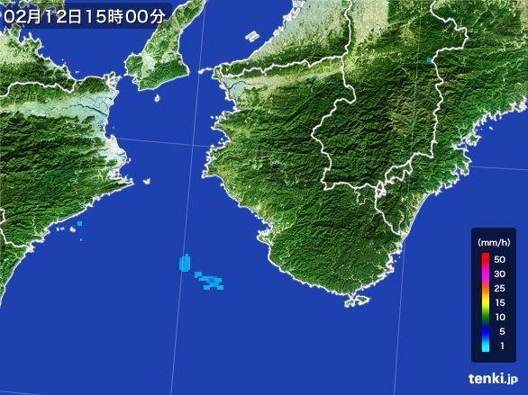 和歌山県の雨雲レーダー(2015年02月12日)