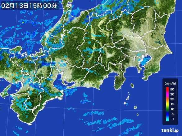 東海地方の雨雲レーダー(2015年02月13日)