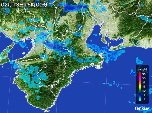 三重県の雨雲レーダー(2015年02月13日)