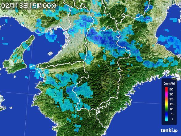 奈良県の雨雲レーダー(2015年02月13日)