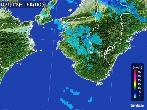 和歌山県の雨雲レーダー(2015年02月13日)