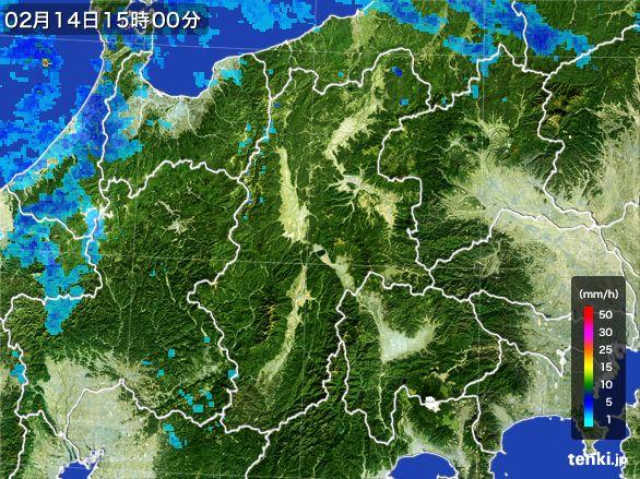 長野県の雨雲レーダー(2015年02月14日)