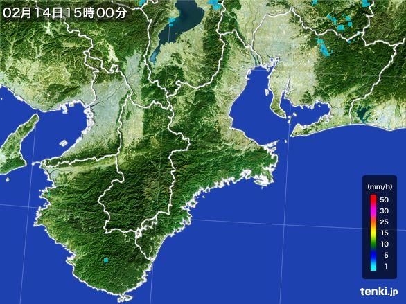 三重県の雨雲レーダー(2015年02月14日)