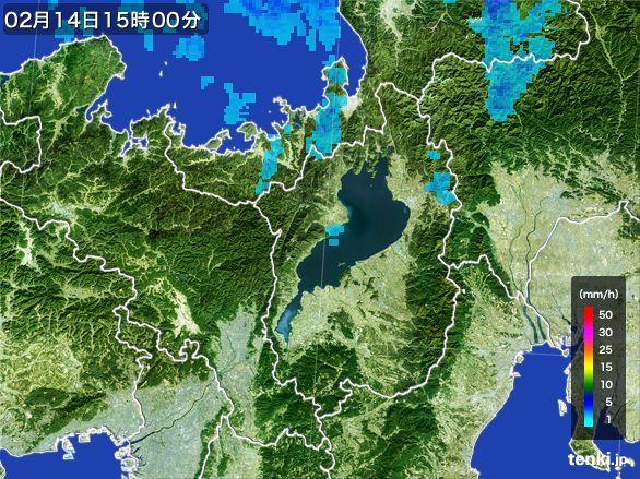 滋賀県の雨雲レーダー(2015年02月14日)