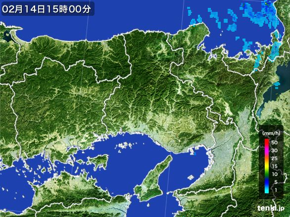 兵庫県の雨雲レーダー(2015年02月14日)