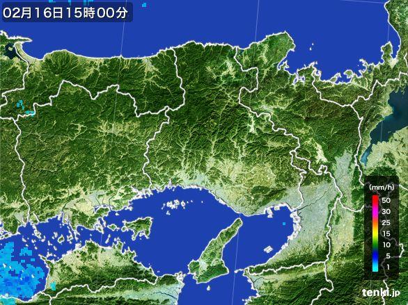 兵庫県の雨雲レーダー(2015年02月16日)