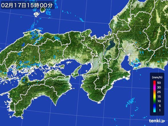 近畿地方の雨雲レーダー(2015年02月17日)