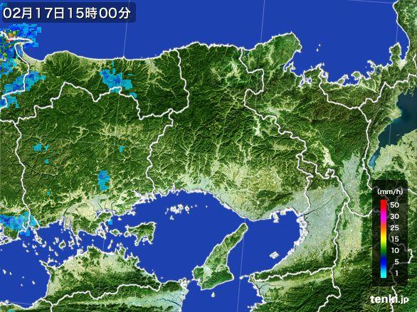 兵庫県の雨雲レーダー(2015年02月17日)