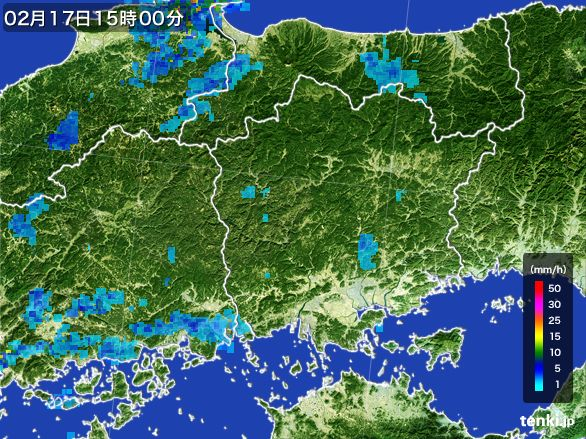 岡山県の雨雲レーダー(2015年02月17日)