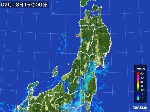 東北地方の雨雲レーダー(2015年02月18日)
