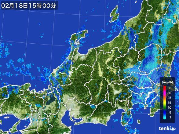 北陸地方の雨雲レーダー(2015年02月18日)