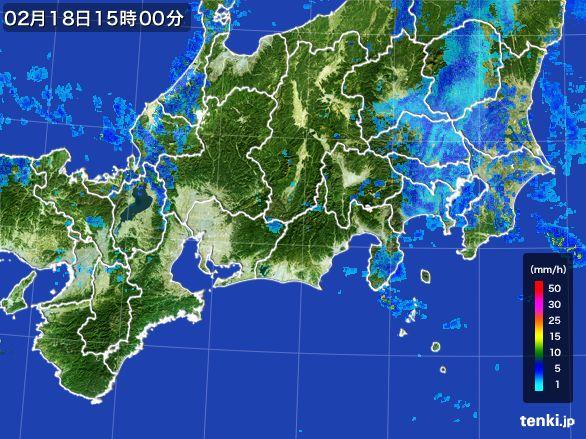 東海地方の雨雲レーダー(2015年02月18日)